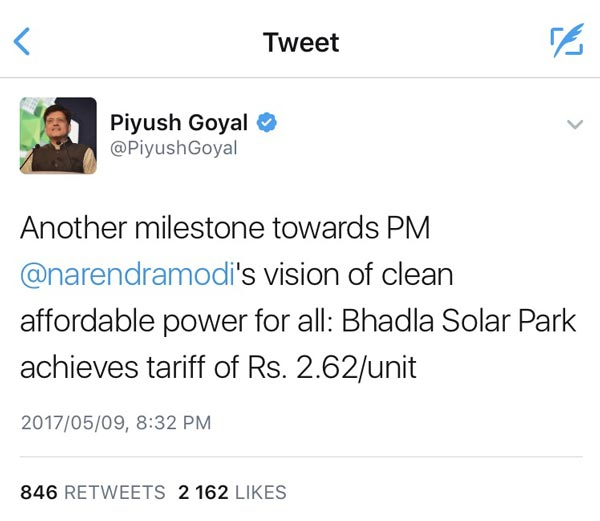 Tweet by India's Minister of Energy Piyush Goyal.